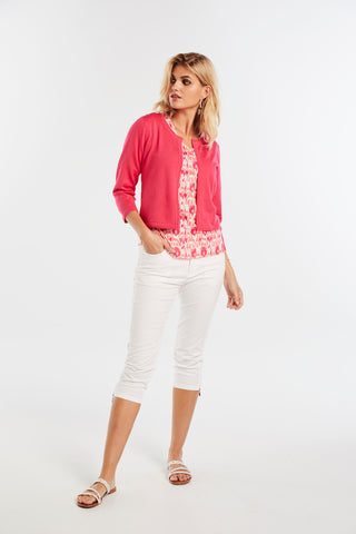 Micha Cerise Pink Cardigan with Button Sleeve Detail (Style 014205)