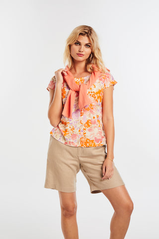 Micha Coral & Orange Print Top with Centre Frill (Style 0110493)