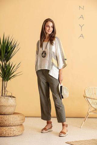 Naya Linen Oversized Top with matching Khaki Top (Style NAS20139)