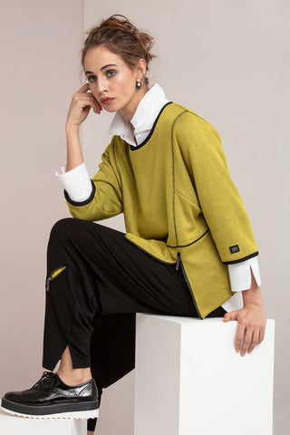 Naya Lime Green Knit Jumper with Black Tim & Zip Detail (NAW20 161)