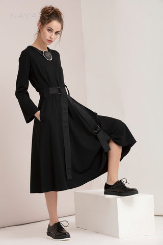 Naya Midi Length Black Dress with Belt detail (style NAW20 216)