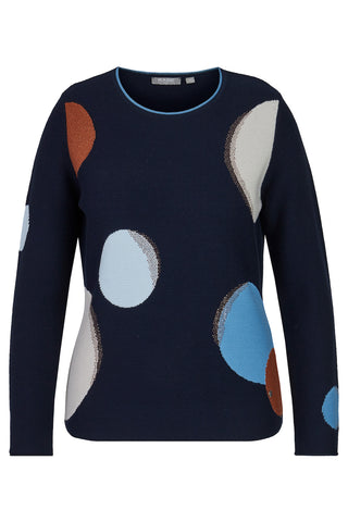 Rabe Navy, Rust & Cream Print Knit Jumper (style 45-023661)