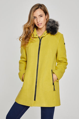ReveR Mile Lime Green Wool Coat with detachable hood (Acacia)