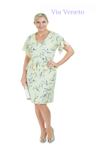 Via Veneto Pastel Lemon Print Dress with Peplum Detail (Style V3465)