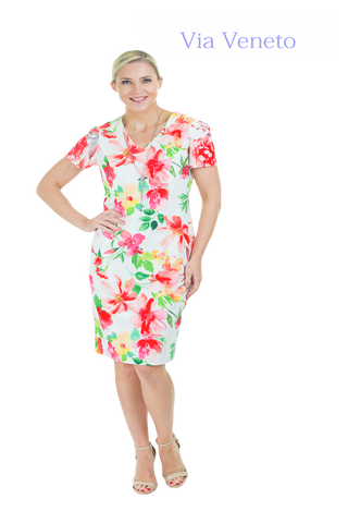 Via Veneto Summer Print Dress & Chain (Style V3469)