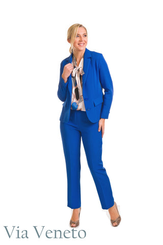 Via Veneto Royal Blue Lined Blazer (Style V3606)