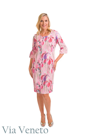 Via Veneto Pink Lily Dress with Ruched Sleeve (Style V3616)