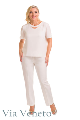 Via Veneto Ivory White Round Neck Top with Peep Detail (Style V3626)
