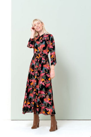 Zilch Black Lily Printed Maxi Dress (Style 202P)