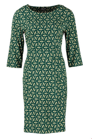 Zilch Organic Cotton Shift Petals Forest Dress with Pockets (Style 02VIS40.195P)