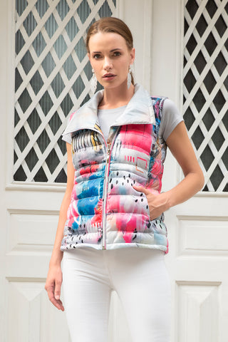Dolcezza Silver, Hot Pink Print Gilet