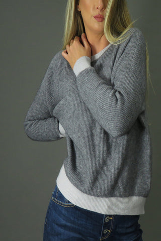 DECK Batwing Grey Knit Jumper