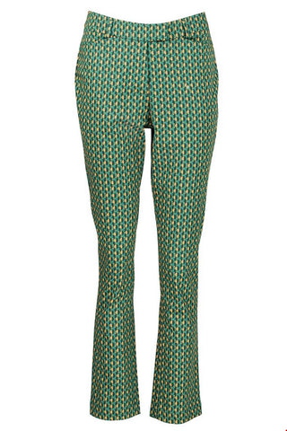Zilch Cotton Stretch Kaleidoscope Petrol Trousers (Style 02COS60.001)