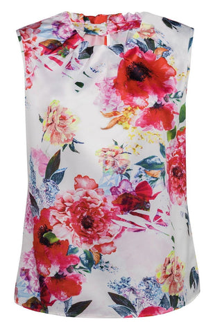 Robell Floral Print Cap Sleeve Top