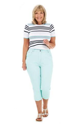 Pinns Turqoiuse Stretch Cotton Crop Trousers