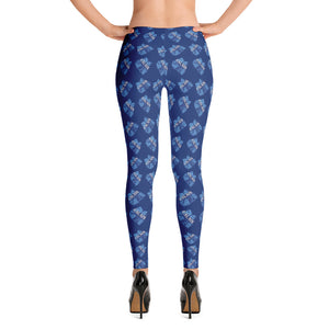 Leggings- Cheer with bow print.  Columbia blue , and navy on navy background. Calais in gray.