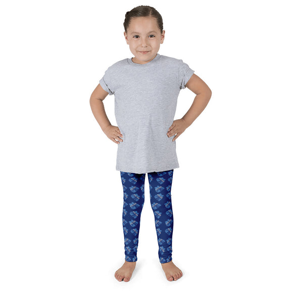 Kid's leggings- Cheer with bow print.  Columbia blue, white and navy on navy background