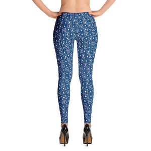 Leggings- Blue Devil head print.  Columbia blue and white devil head,  white and columbia blue square pattern on navy background.