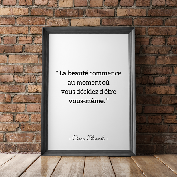 "Affiche citation Coco Chanel – ""La beauté commence…"""