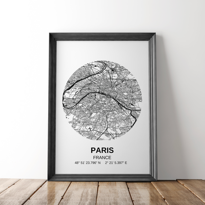 Affiche carte Paris