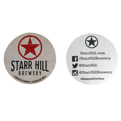 "Starr Hill 3"" Stickers - White - Front & Back View"