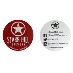 "Starr Hill 3"" Stickers - Red - Front & Back View"