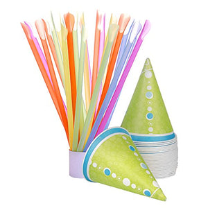 Hawaiian Shaved Ice H503-S Snow Cone (Pack), 50 Cups and 50 Spoonstraws, Multicolor