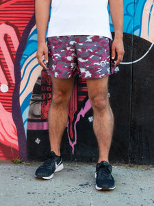 RunBK WillyB Short: 5 inch, Burgundy Camo