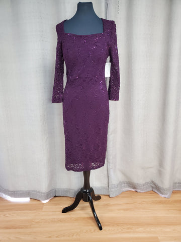 LS22922 Sequin Lace Dress Size 10 Eggplant