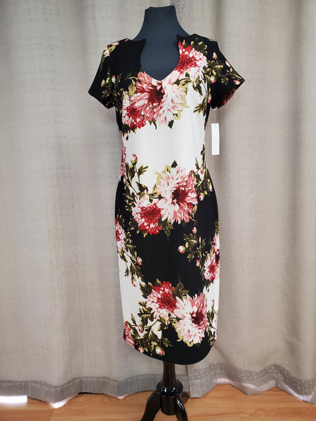 SHED730 Dress Size 10 Black White Burgundy Floral