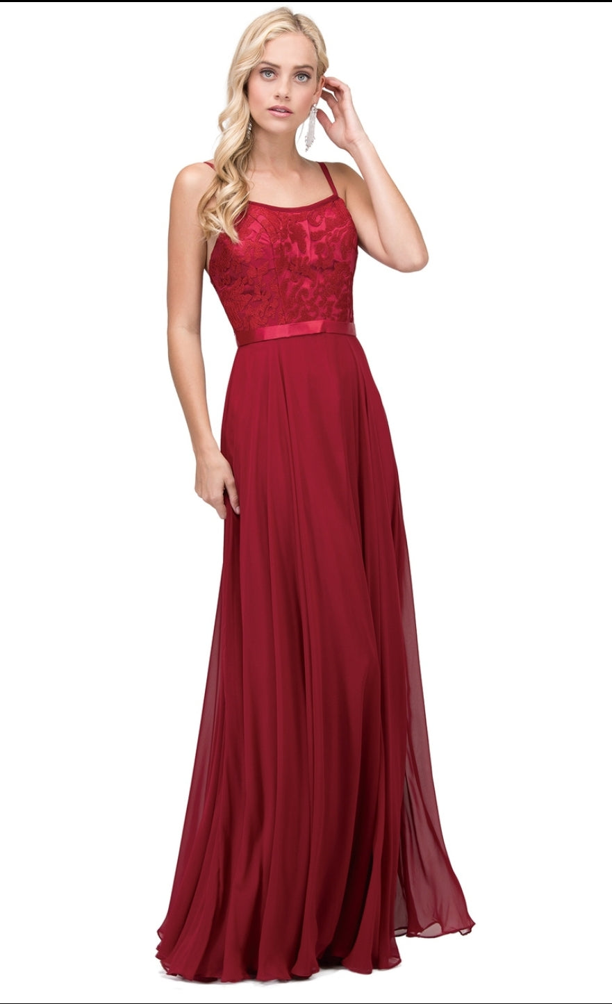 9914 Prom Dress Size 2X Burgundy