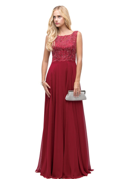 9847 Prom Dress Size 3X Burgundy/Red