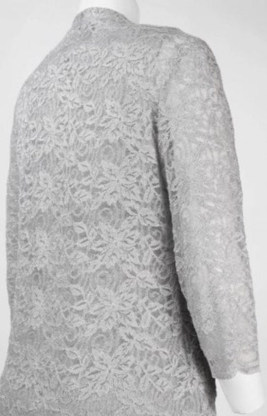 Alex Evenings 112834 Layered Lace Dress Size 8 Platinum