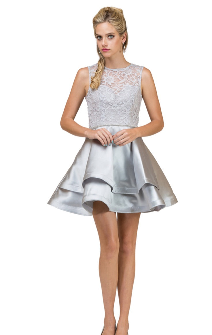 2011S  Semi Prom/Homecoming Dress Size 2XL Silver