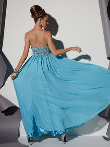 Studio 17 Prom Dress 12452 Size 6 Caribbean Blue