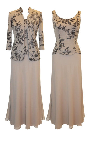 Alex Evenings 425607 Evening Dress Taupe Size 22