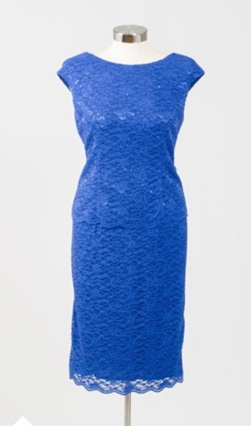 Alex Evenings 1121262 Sequin Lace Dress Size 10 Royal Blue
