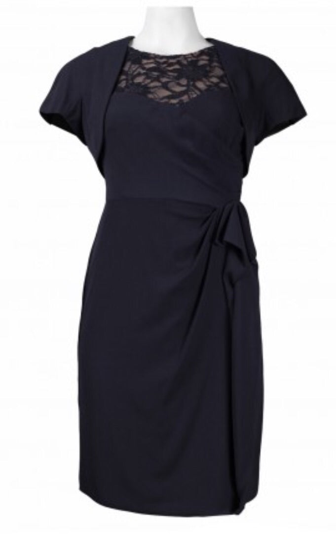 Alex Evenings 236048 Jacket Dress  Petite Navy