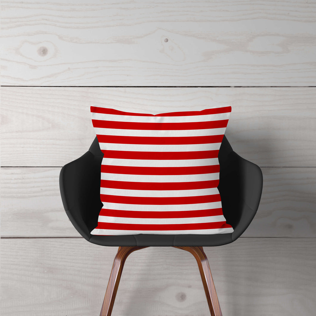 Red & White Stripe Accent Pillow Cover