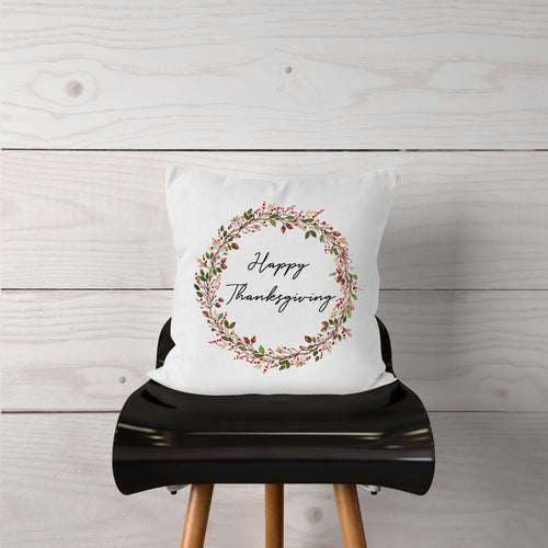 Watercolor Happy Thanksgiving Wreath-Pillow Cover