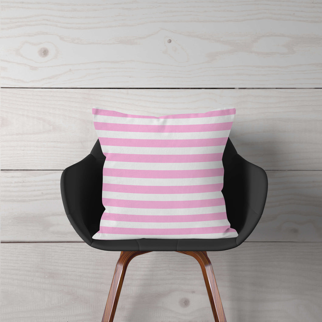 Pink & White Stripe Accent Pillow Cover