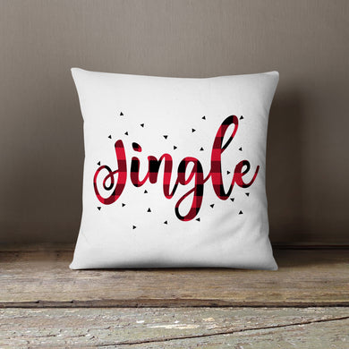 Red & Black Plaid Jingle-Pillow Cover