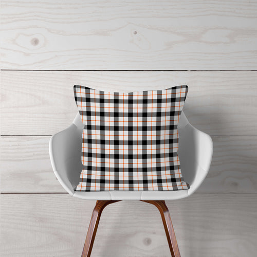 White, Black, & Orange Plaid-Pillow Cover