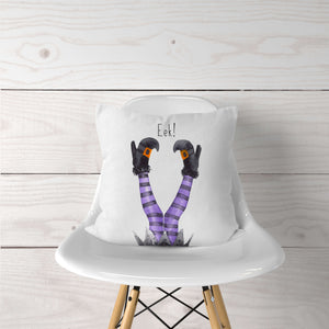 Eek!  Purple Witches Legs Halloween Pillow Cover