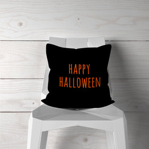 Happy Halloween-Orange/Black-Pillow Cover