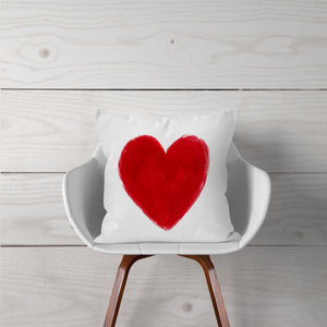 Watercolor Red Heart Pillow Cover
