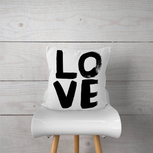 "Black ""LOVE"" Watercolor-White Fabric"