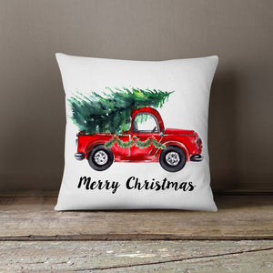Watercolor Christmas Truck with Fresh Trees-Pillow Cover