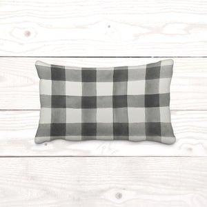 Watercolor Gray Plaid Lumbar-Pillow Cover