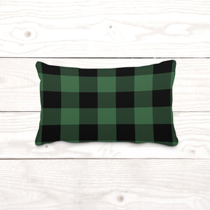 Green & Black Plaid-Lumbar Pillow Cover